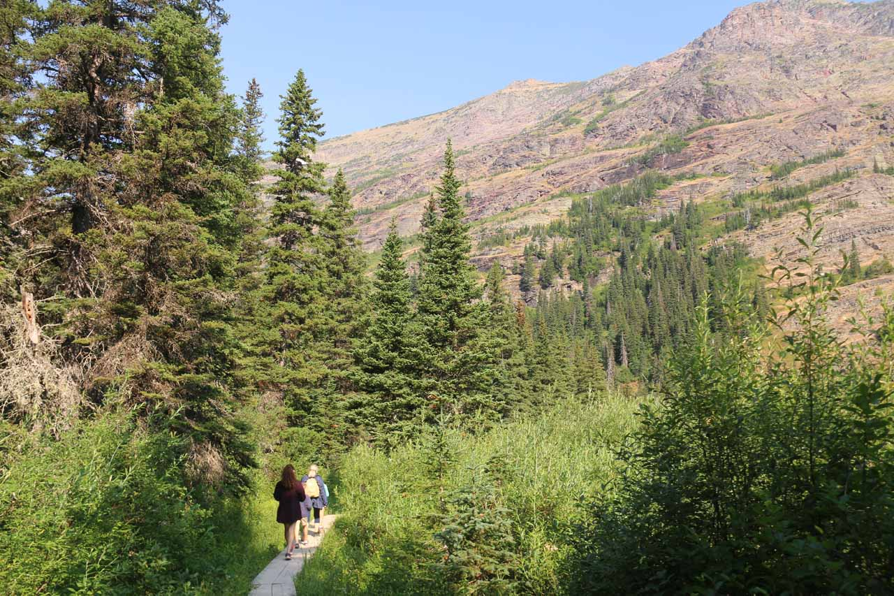 After getting off the boat at the southern shore of Lake Josephine, we then had to walk the Josephine Walk Trail, which would eventually connect with the Grinnell Glacier Trail
