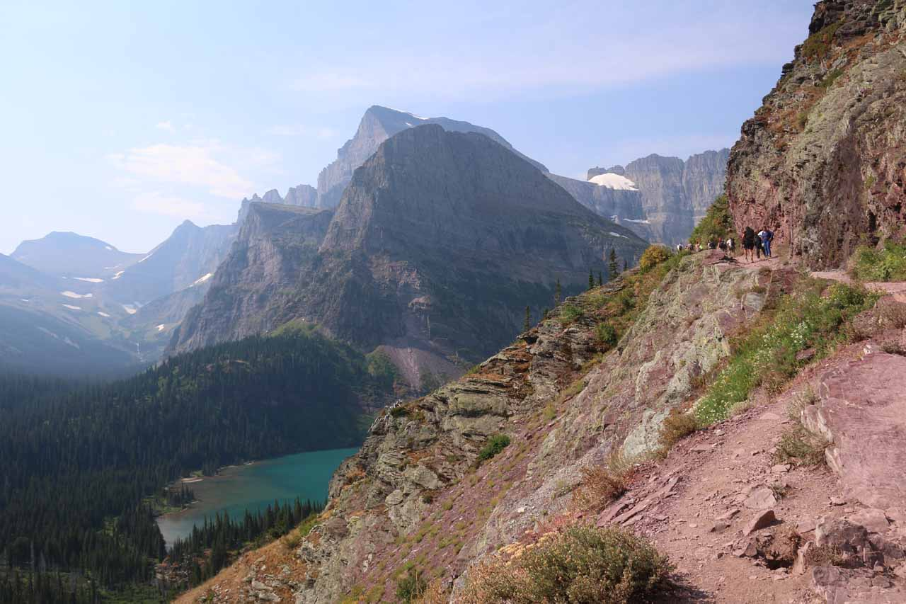 The Grinnell Glacier Trail continued its relentless climb along narrow ledges like this one