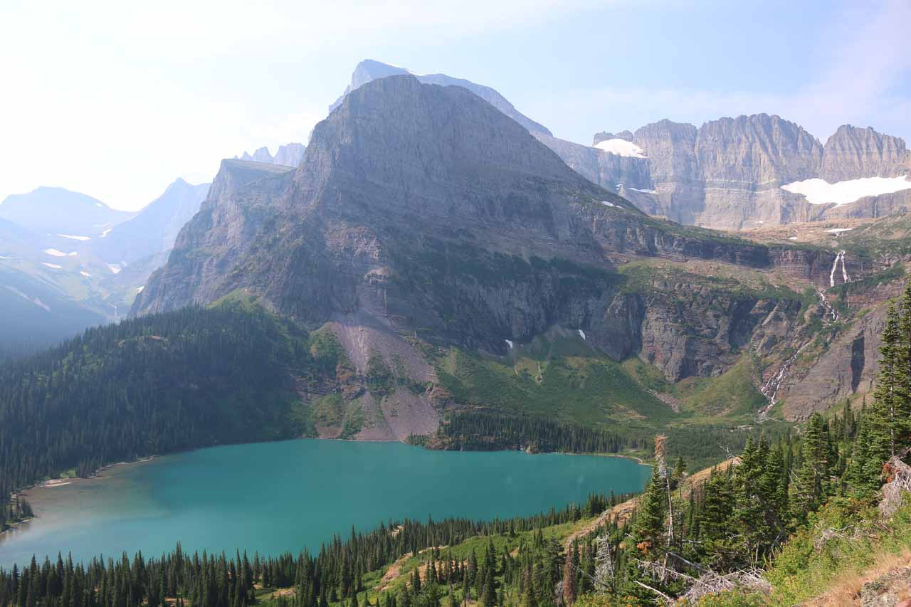 The higher the Grinnell Glacier Trail went, the more I was able to see Grinnell Lake and its beautiful blue-green color
