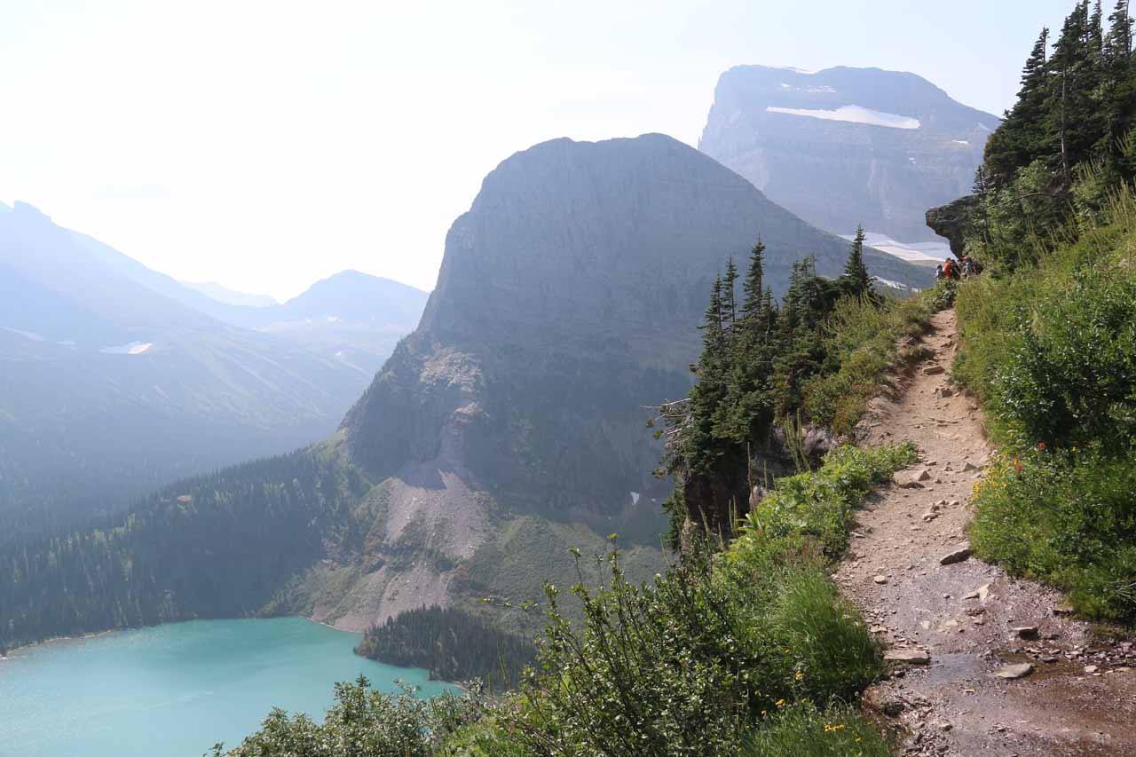 The Grinnell Glacier Trail continued climbing along narrow ledges like this as Grinnell Lake was now appearing further and further below