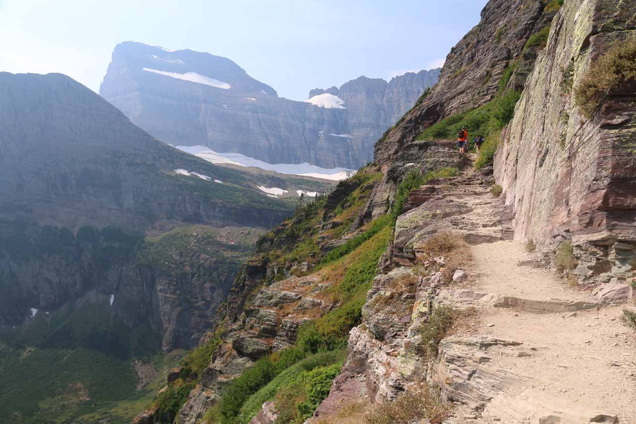 The Grinnell Glacier Trail continued gaining elevation as the trail persistently hugged cliffs