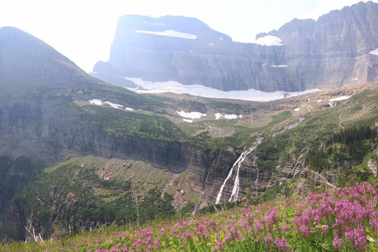 By about this point of the long hike to Grinnell Glacier, the Grinnell Falls starts to appear more angled as the trail continues further upstream from the shelf over which it made its main drop