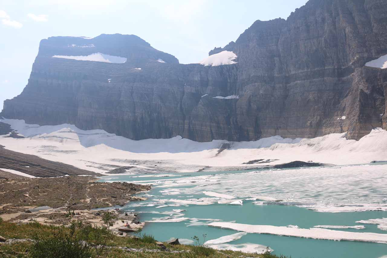 Looking to the far eastern end of the Upper Grinnell Lake, where the remainder of the Grinnell Glacier and its icebergs still cling to their existence