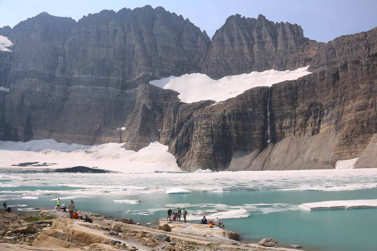 The ultimate goal of this excursion was to reach the Grinnell Glacier, which is now mostly Upper Grinnell Lake full of icebergs with Salamander Falls spilling into the lake