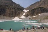 Grinnell_Glacier_423_08072017 - Looking towards the western end of Upper Grinnell Lake with lots of people chilling out along its shores