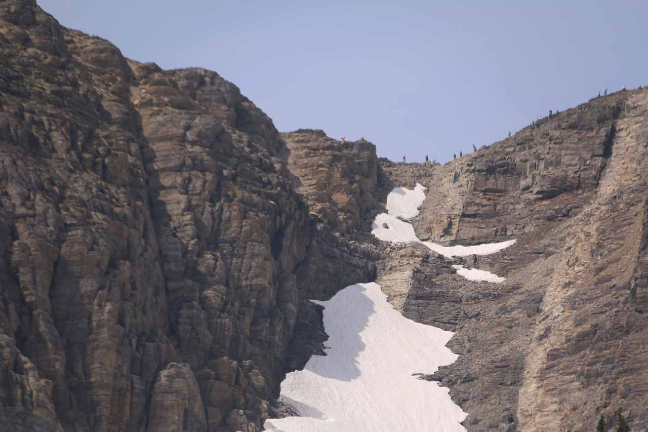 High up on the west wall overlooking Grinnell Glacier were people on the Skyline Trail looking down at us
