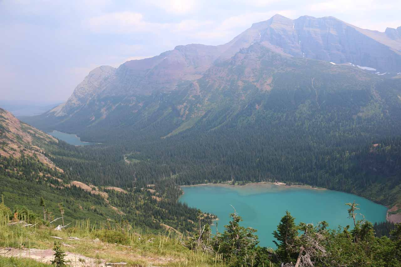 Looking down towards Grinnell Lake and Lake Josephine in the distance