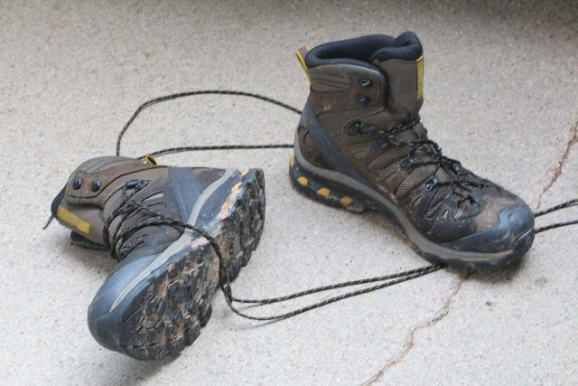 The Salomon Quest 4D 3 GTX boot having been through lots of muddy and wet conditions during a Rocky Mountains Road Trip