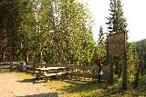 Grongstadfossen_010_07102019 - Context of the overlook of Grongstadfossen fronted by a picnic table and what appeared to be a container for a guest book