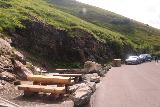 Grossglockner_106_07122018 - Looking back at the context of some picnic tables and the roadside pullout in front of the Fensterbach Waterfall along the Grossglockner High Alpine Road