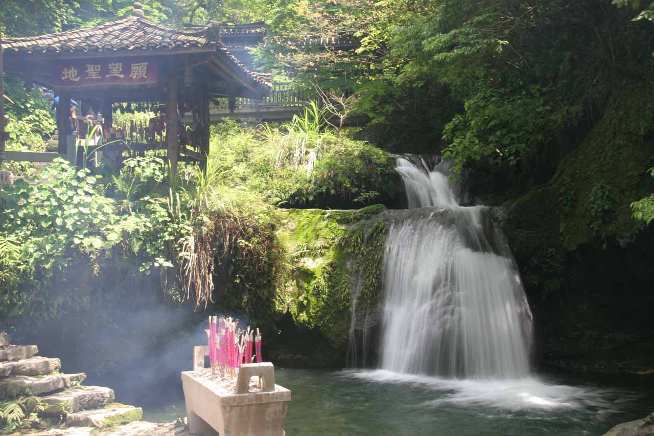 This was the last of the Gudong Waterfalls that we saw as it was flanked by burning incense sticks and a pagoda