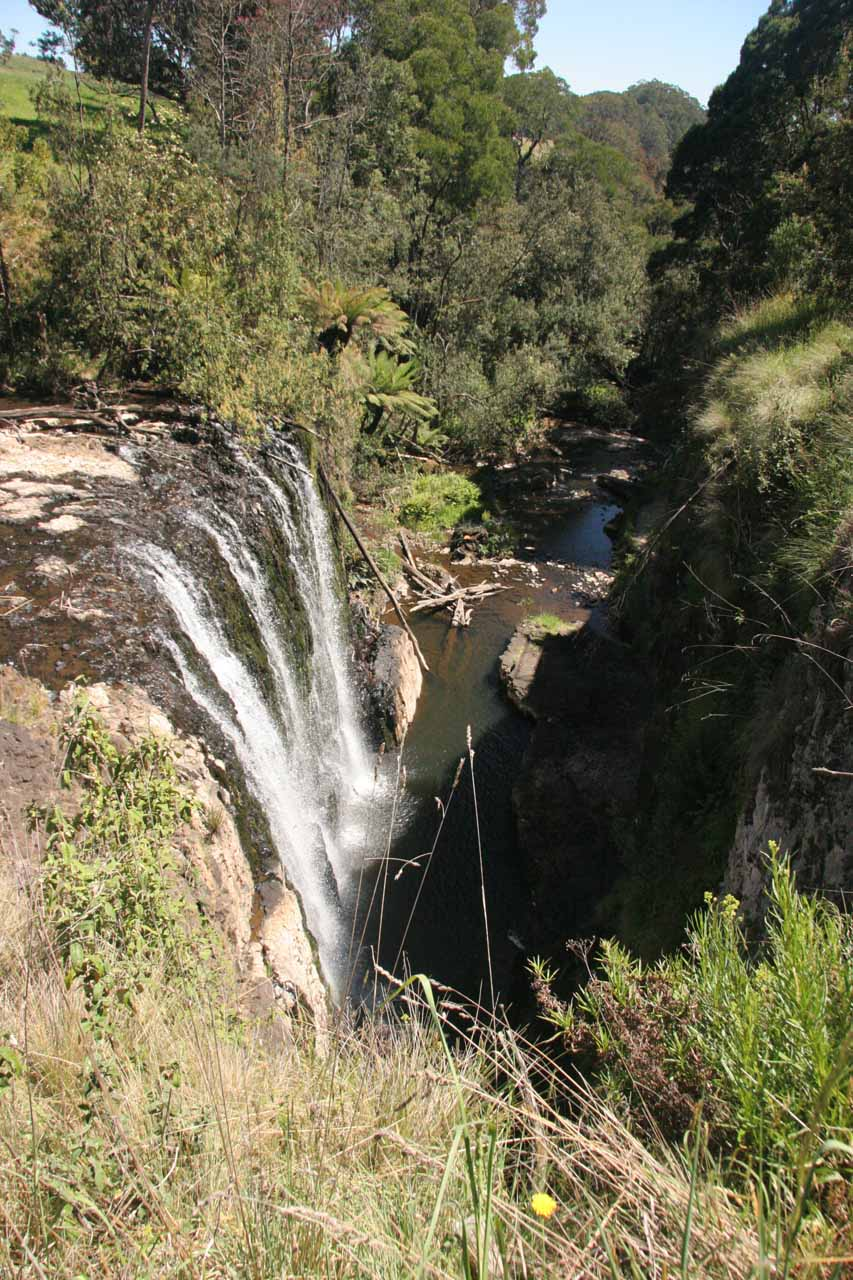Looking down at the profile of the main tier of Guide Falls