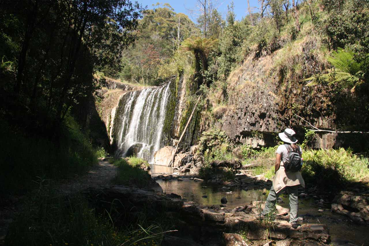 Julie checking out Guide Falls from within the gorge in the afternoon during our first visit in late November 2006
