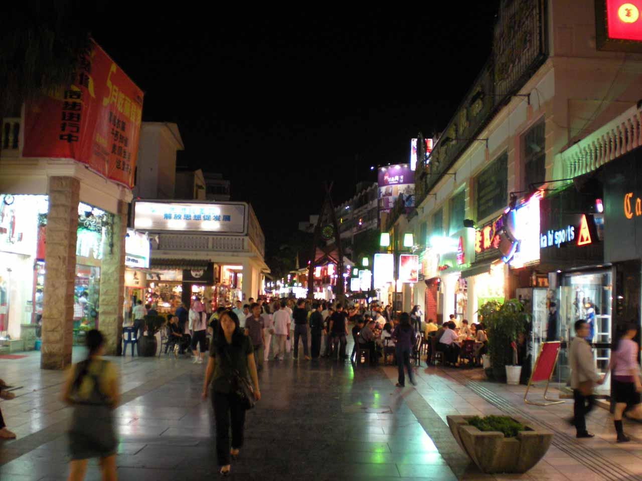 Inside some happening walking street in Guilin