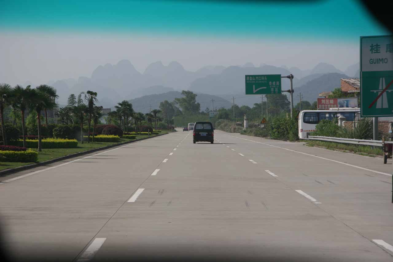 Driving out of town and towards the place where we were to board the Li River Cruise