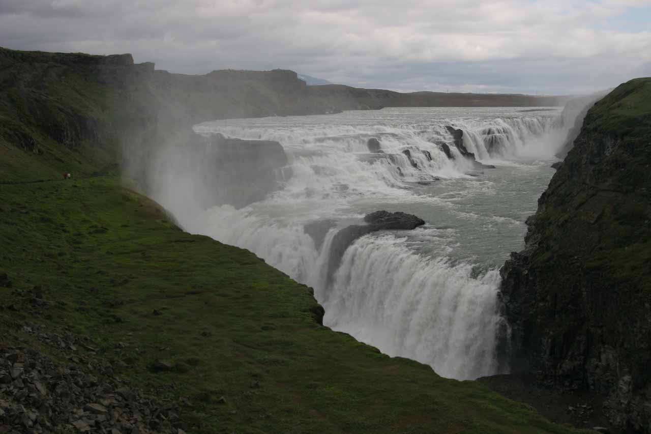 Our first look at Gullfoss under dark overcast skies