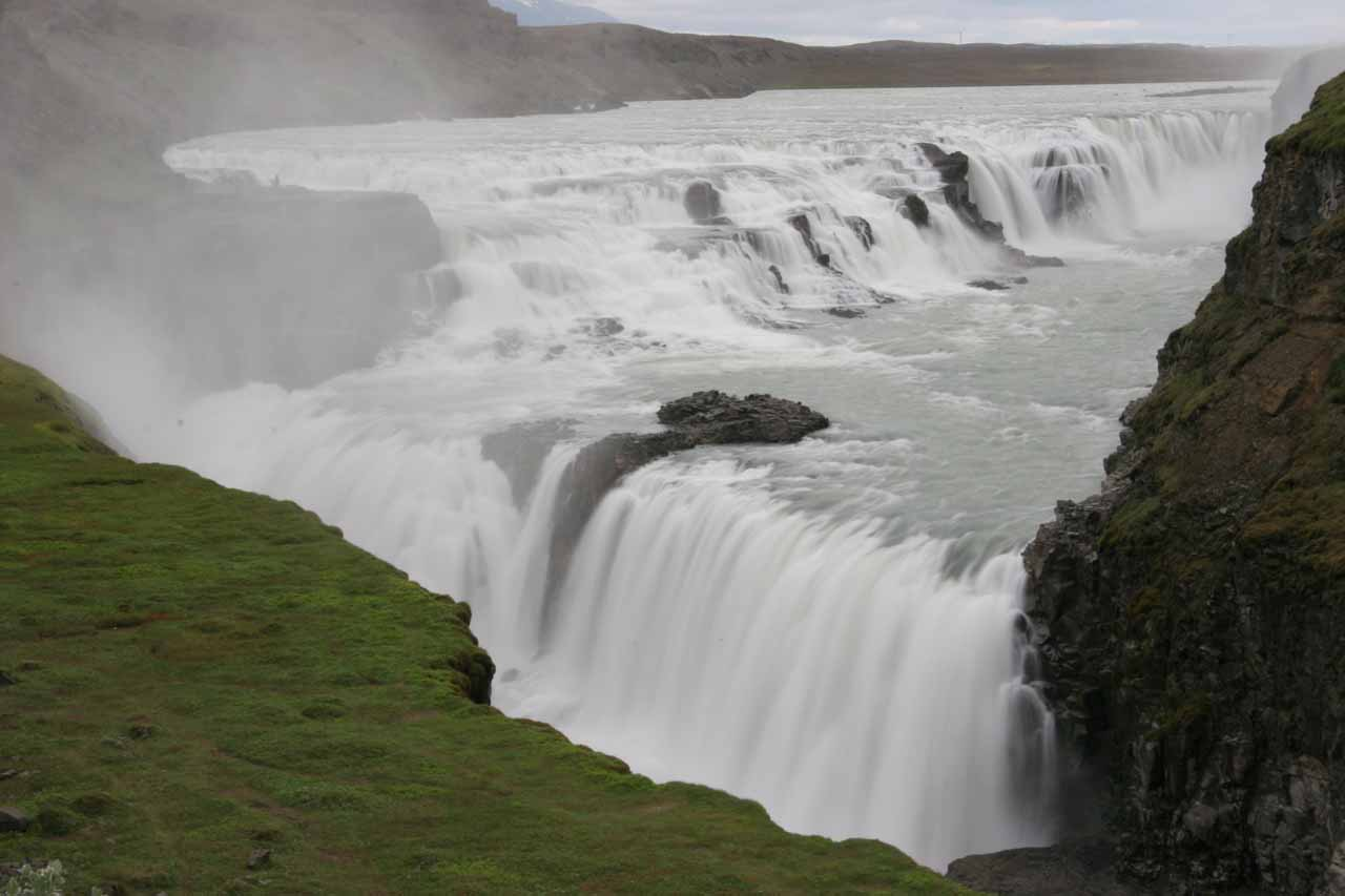Early morning view of Gullfoss from the lower car park in long exposure