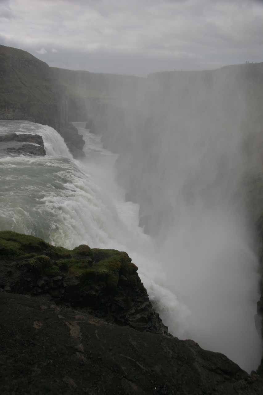 Looking into the wafting mist from the lower waterfall of Gullfoss