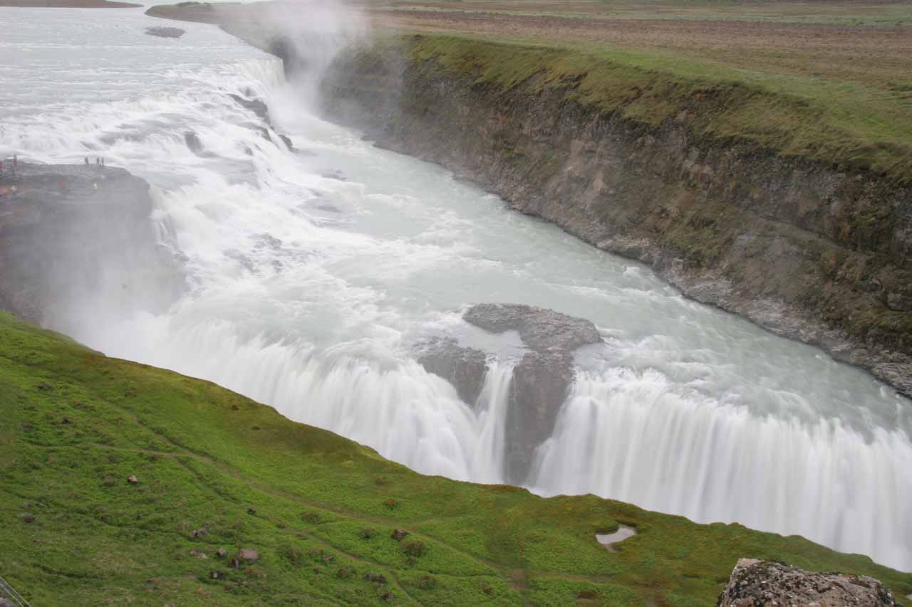 Long exposure top down view of Gullfoss from the upper overlook