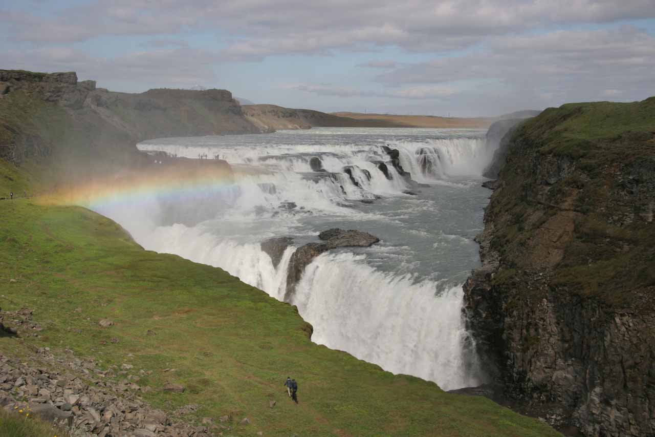 One of our visits to Gullfoss was well timed as we saw a rainbow in the late afternoon from the lower lookouts when the sun finally came out in the Summer