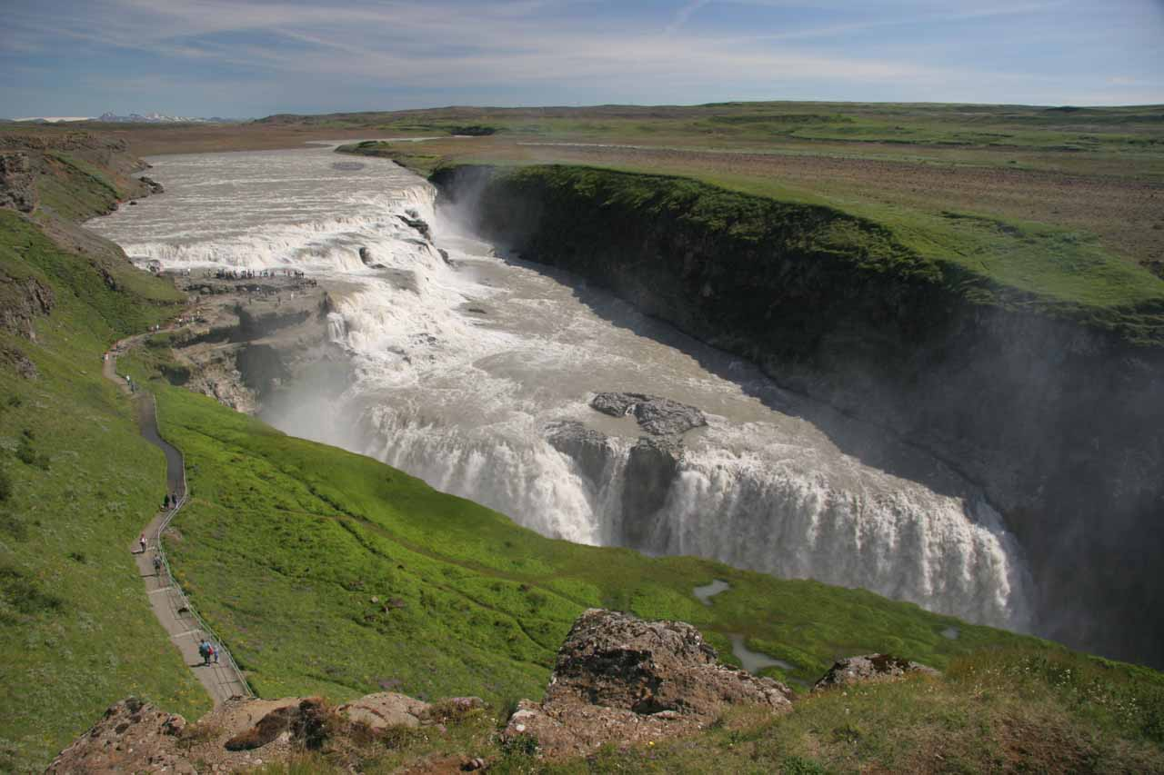 Top down view of Gullfoss from the upper overlook under clear weather