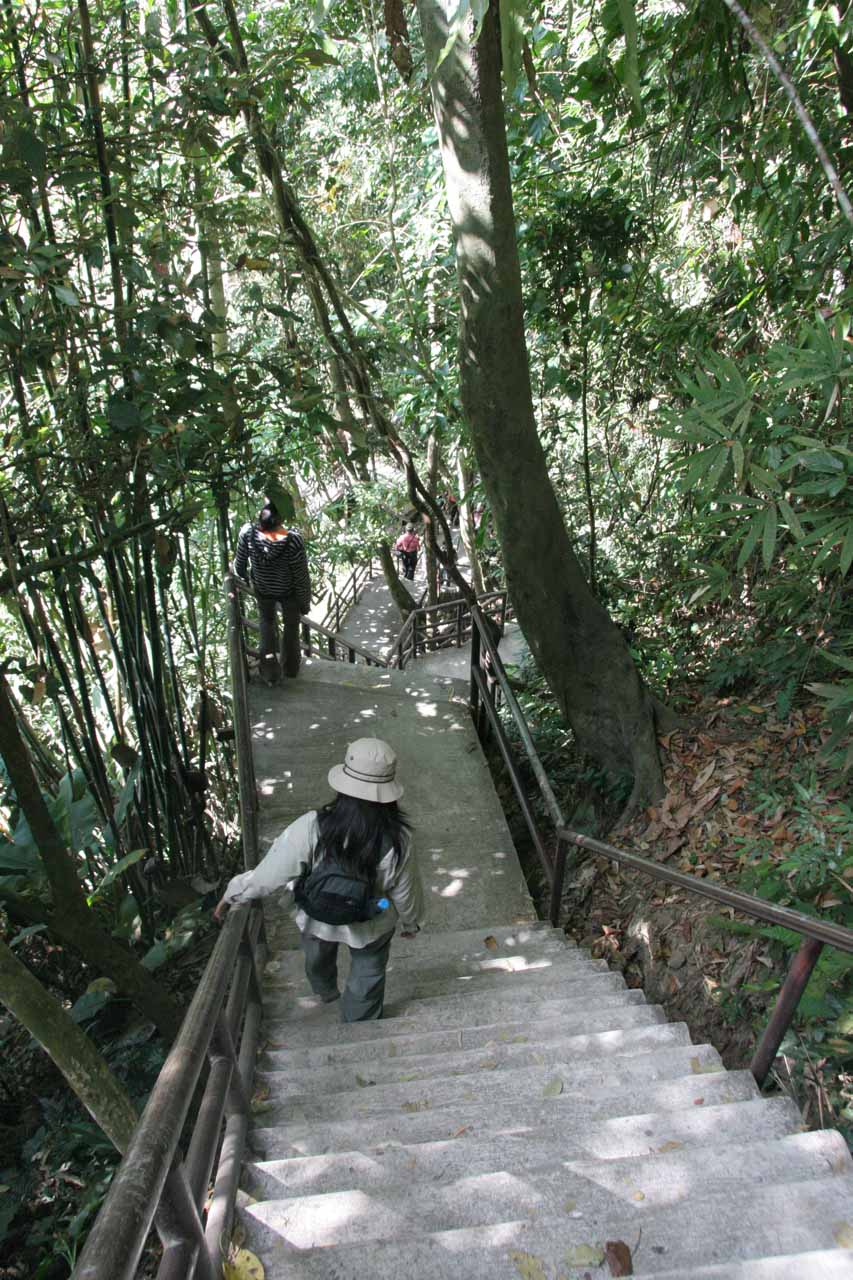 Descending steep steps towards the overlook