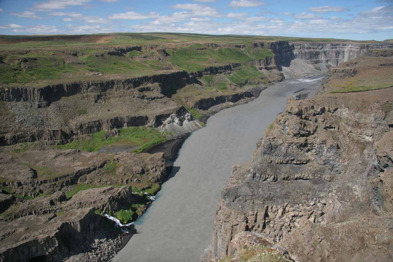 Looking down into the canyon from the Hafragilsfoss lookout