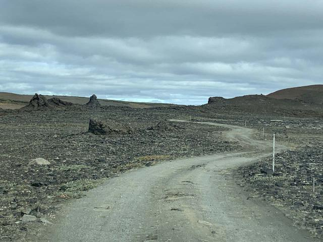Hafragilsfoss_West_001_iPhone_08132021 - Taking the high clearance track to the trailhead for the overlook near the west side of Hafragilsfoss, which reminded me of the type of conditions we had to endure while driving the F826 Road along the west side of Jökulsárgljúfur Canyon