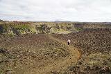 Hafragilsfoss_West_005_08132021 - Tahia on the trail leading to the views of the west side of Hafragilsfoss