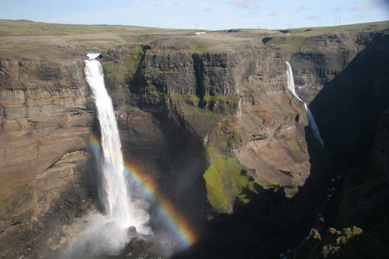 Closer look at Háifoss and rainbow without the foreground cliffs