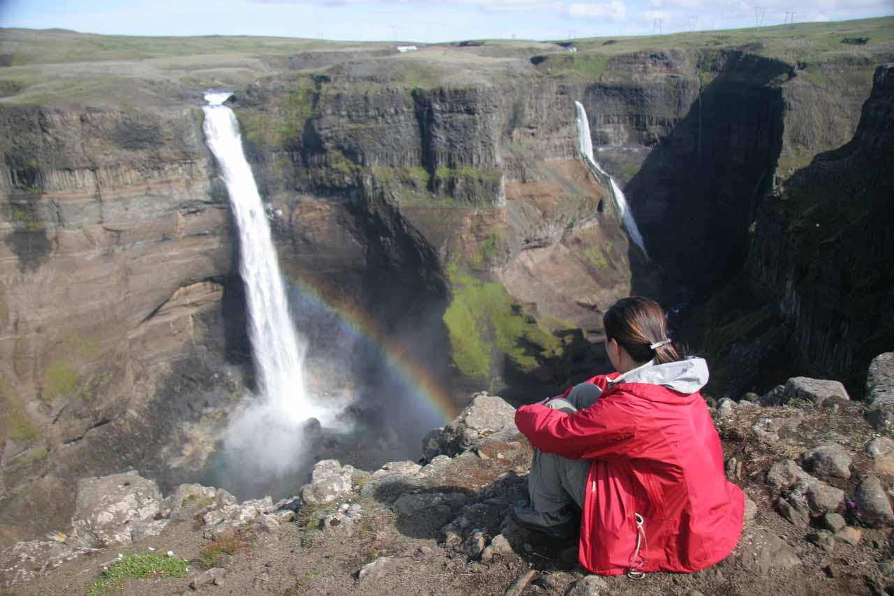 Julie admiring Haifoss in Iceland