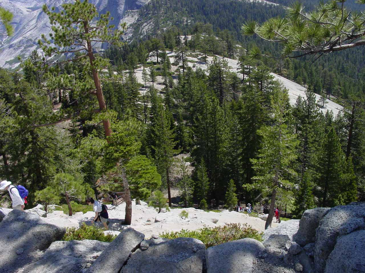 Looking down at the granite step switchbacks as we made the arduous ascent towards the Half Dome Saddle