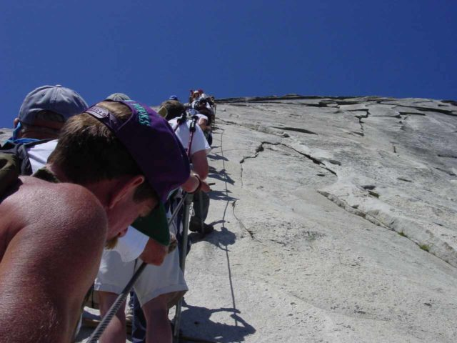 Half_Dome_062_06072003 - Congestion on the cables
