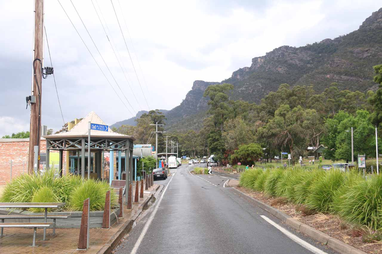 This was the main throughfare of Halls Gap, which had most of the shops on one side and tall mountains towering over the area on the other
