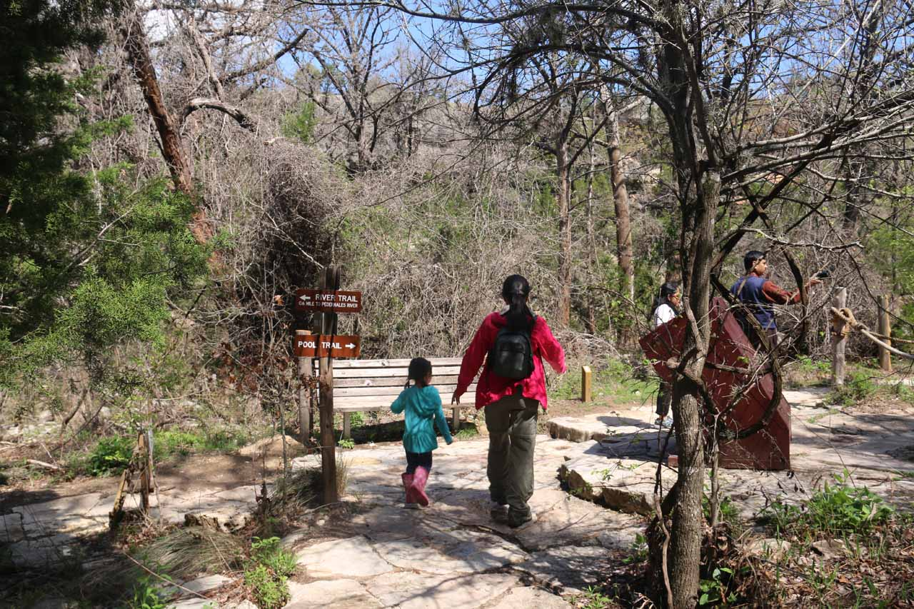 This was the trail junction where the Hamilton Pool Trail and Pedernales River Trail intersected, but the Pedernales River Trail was closed