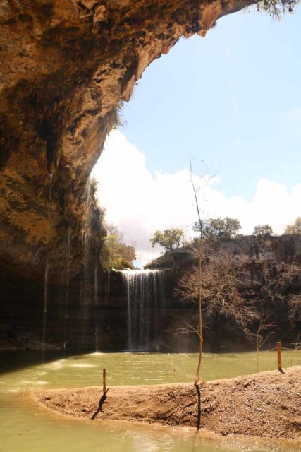 Hamilton_Pool_085_03122016 - View of the impressive Hamilton Pool Waterfall from near the opening of the deep cave-like grotto adjacent to the Hamilton Pool