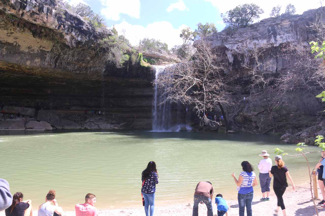 Lots of people enjoying themselves at the Hamilton Pool Waterfall