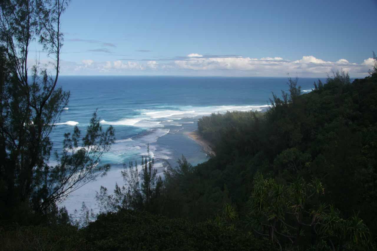 Looking back at the beaches near the Kalalau Trailhead