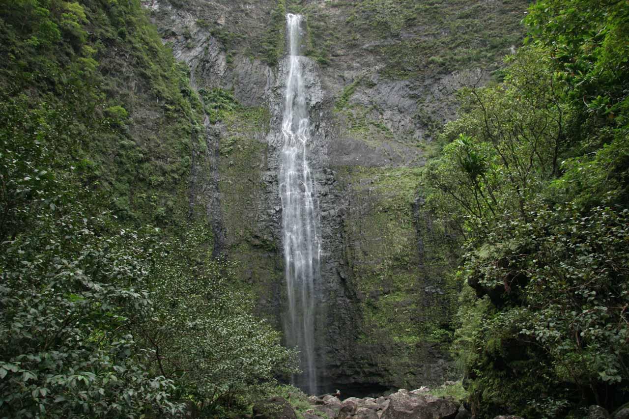 Hanakapi'ai Falls dwarfing an admirer