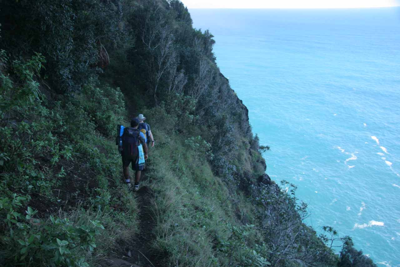 The trail was narrow and constantly had dropoffs.  I could see why permits were required even for the day hike!