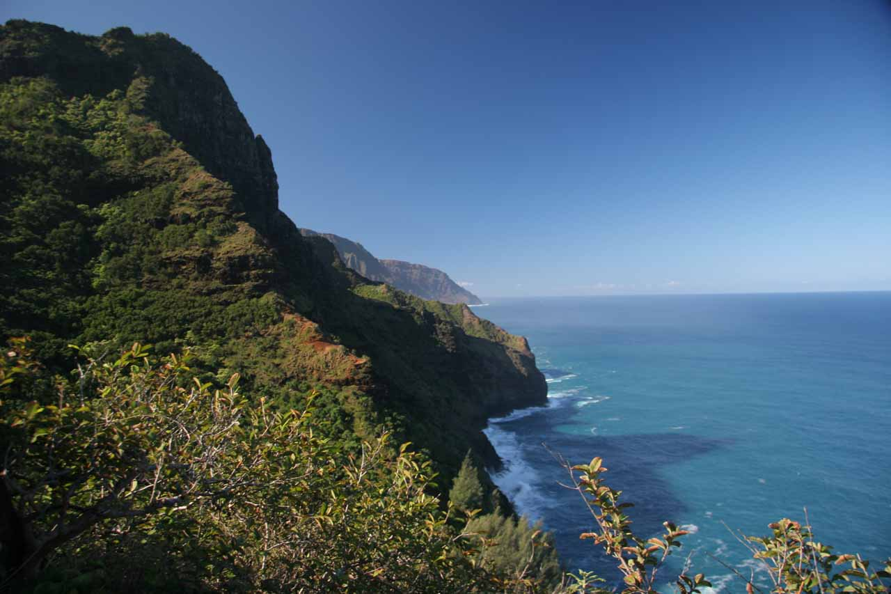 The Na Pali Coast as seen along the Kalalau Trail