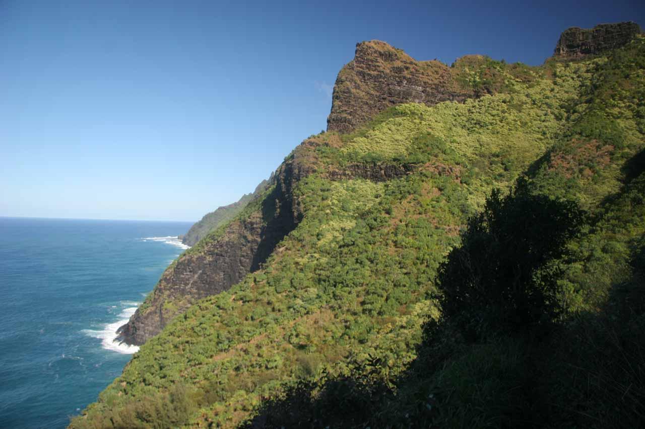 Looking ahead at the coastal scenery along the Kalalau Trail on the return hike
