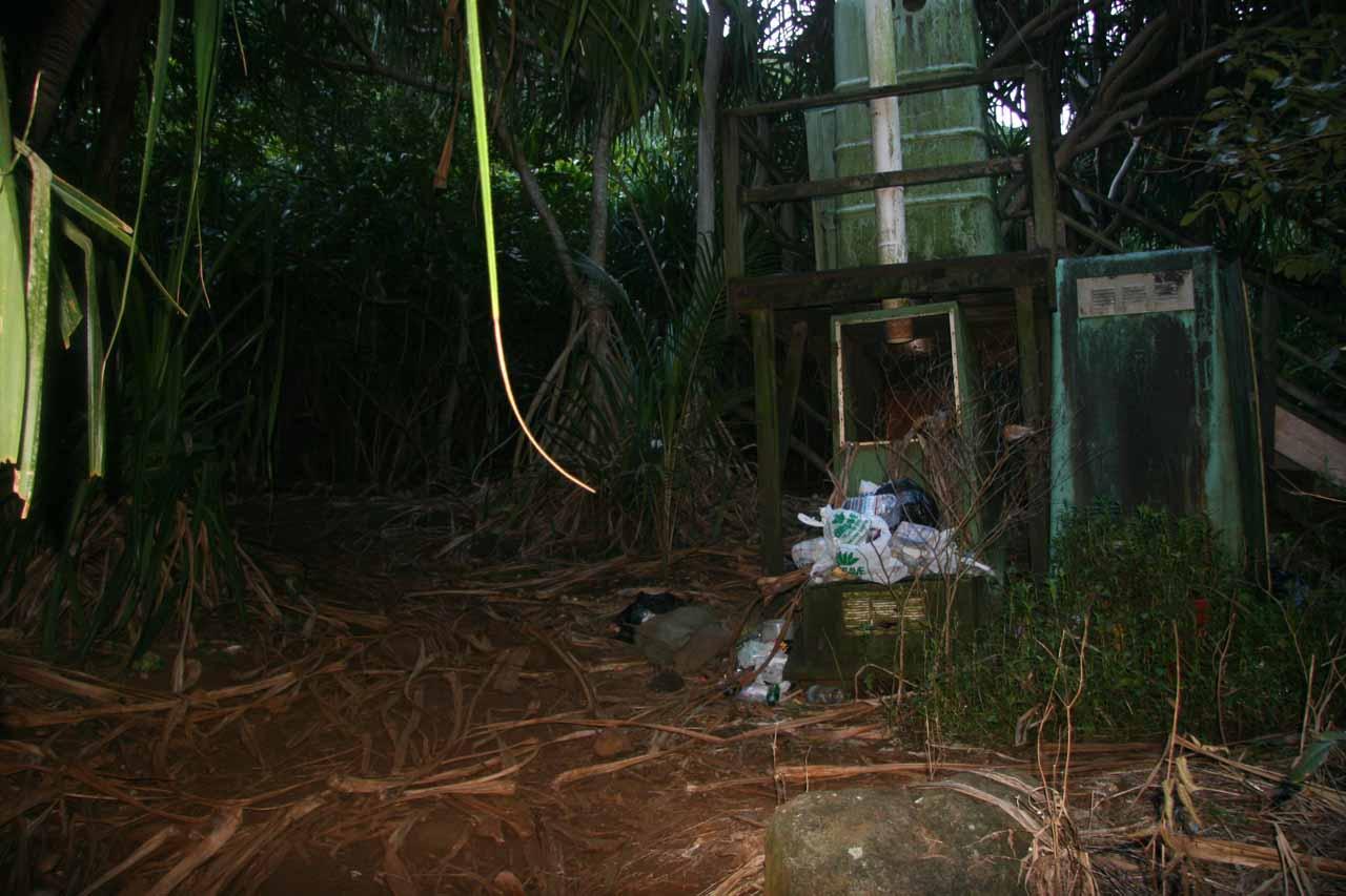Litter near the portable toilet by Hanakapi'ai Beach