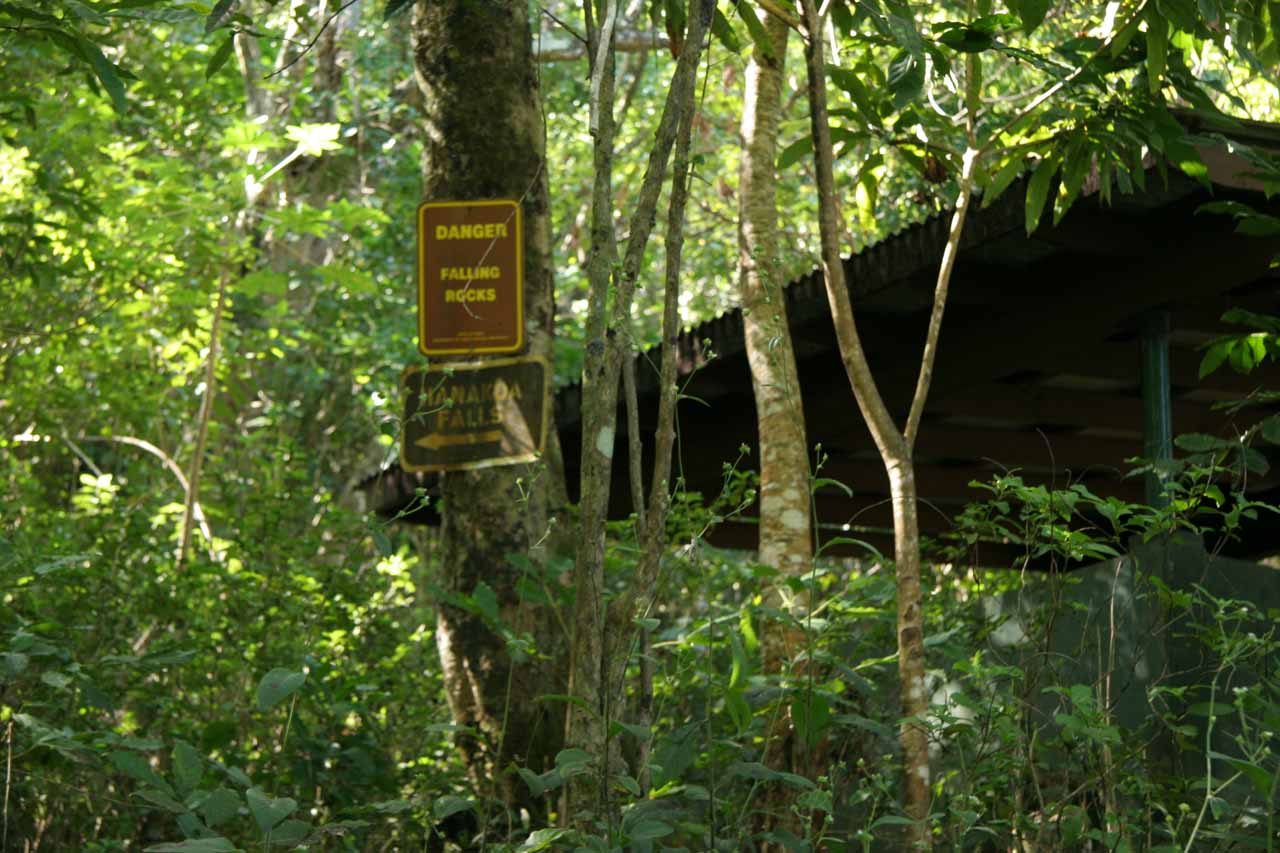 A shelter and some signage.  I must be getting close to the falls