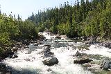 Handolsforsen_041_07122019 - Looking upstream from the swinging bridge towards more waterfalls and cascades upstream from the main drop of Handolsforsen