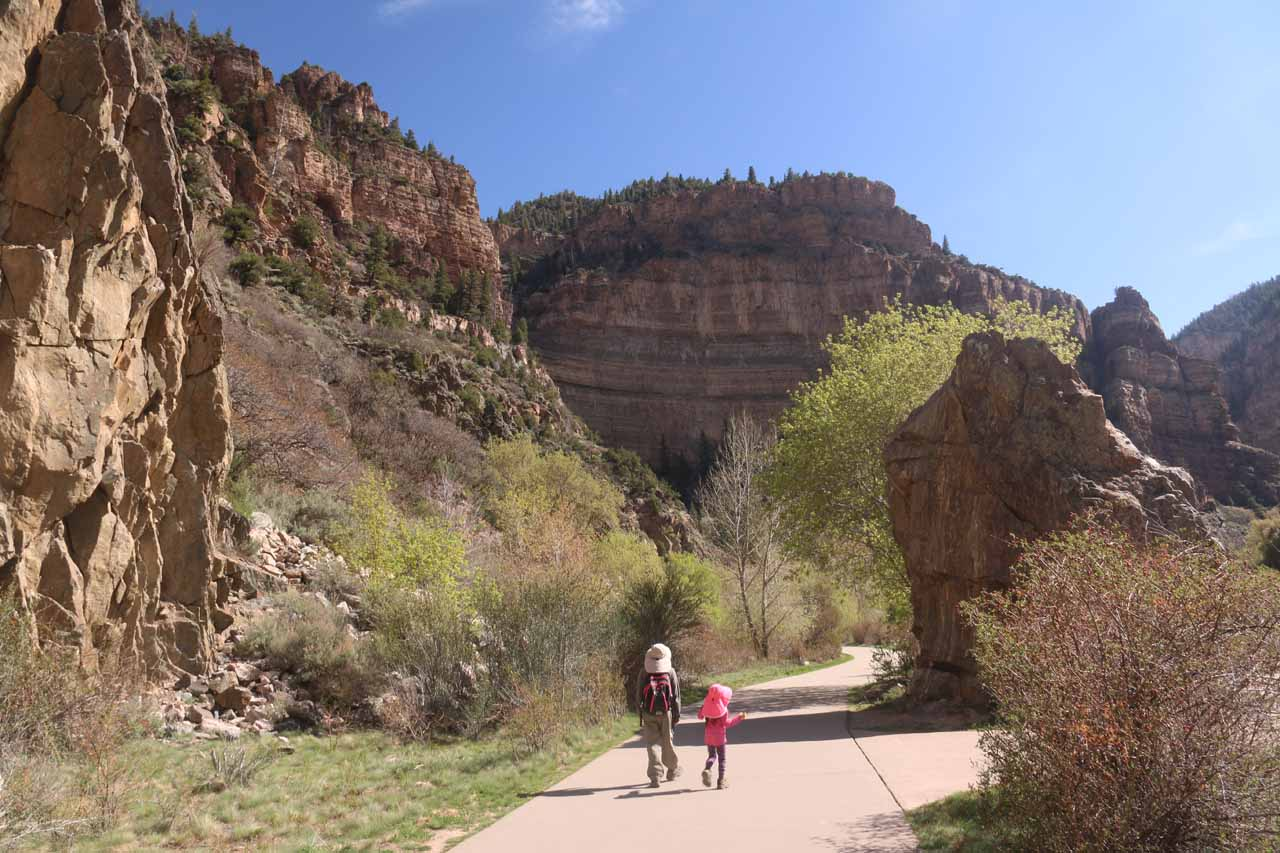 Julie and Tahia on the concrete path along the north side of the man-made lake on the Colorado River