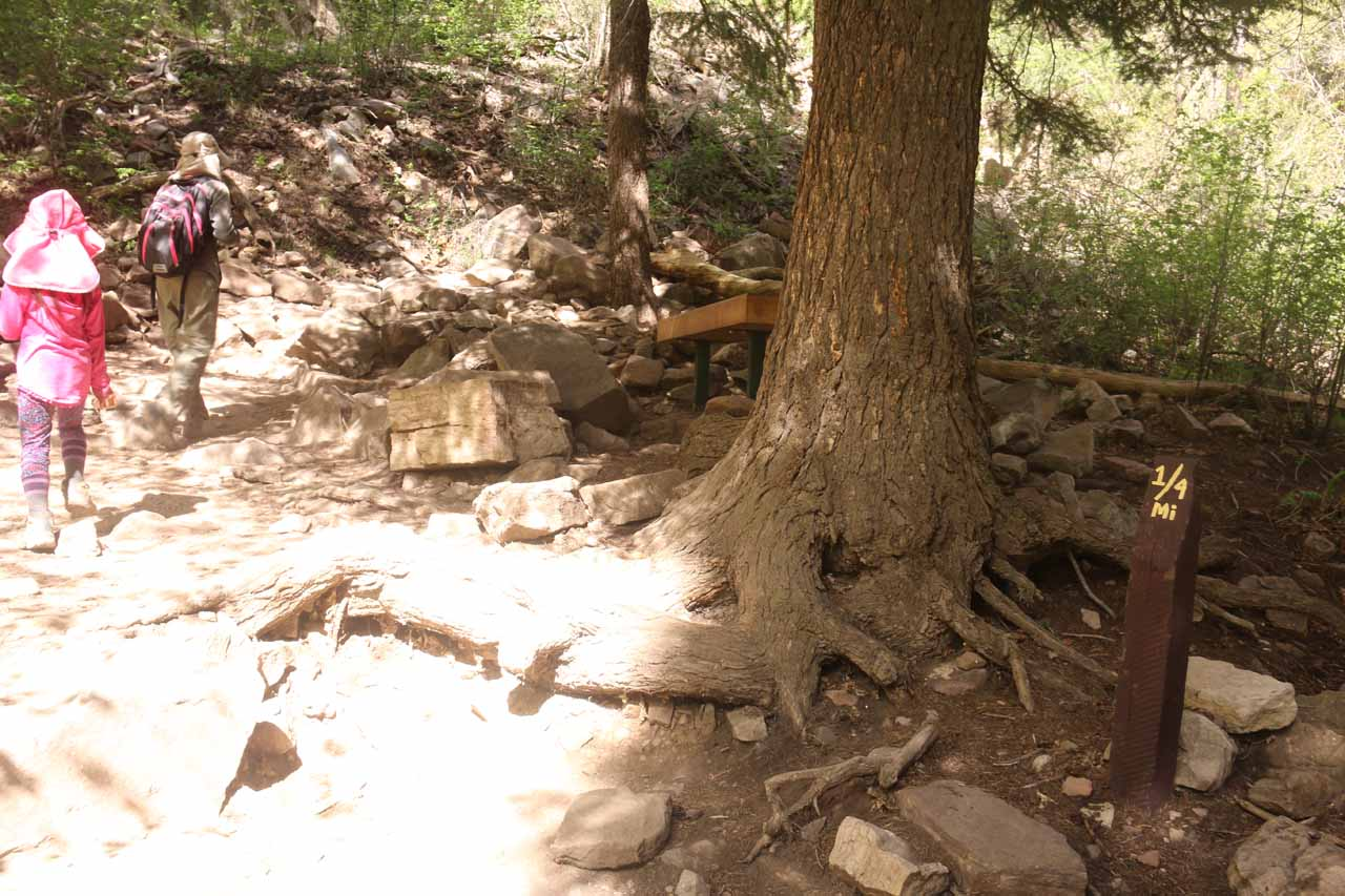 This was the first of the quarter-mile posts on the ascent up to Hanging Lake.  This number pertained to the distance from the start of the ascent back at the bridge and not the overall hike to this point