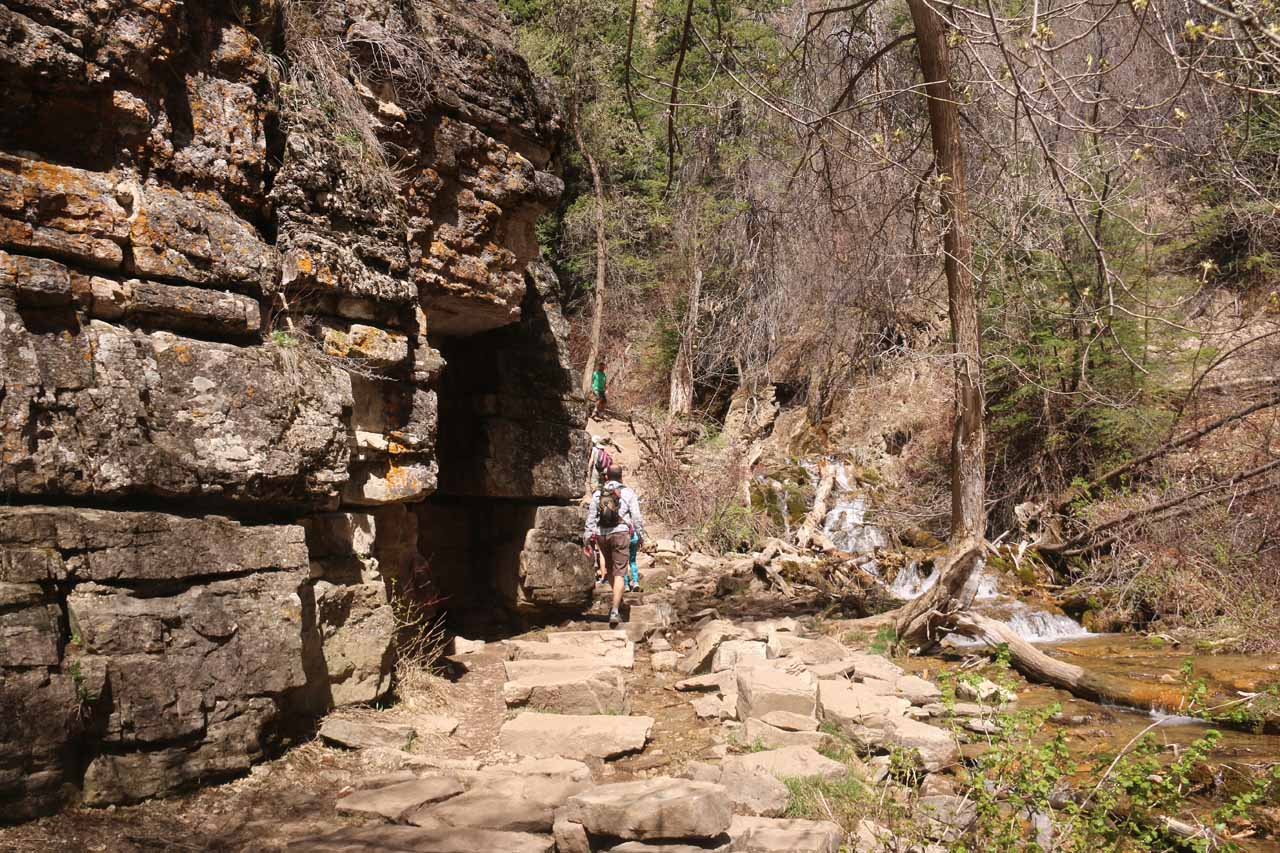 The Hanging Lake Trail was now starting to go right by some alcoves at the base of this cliff
