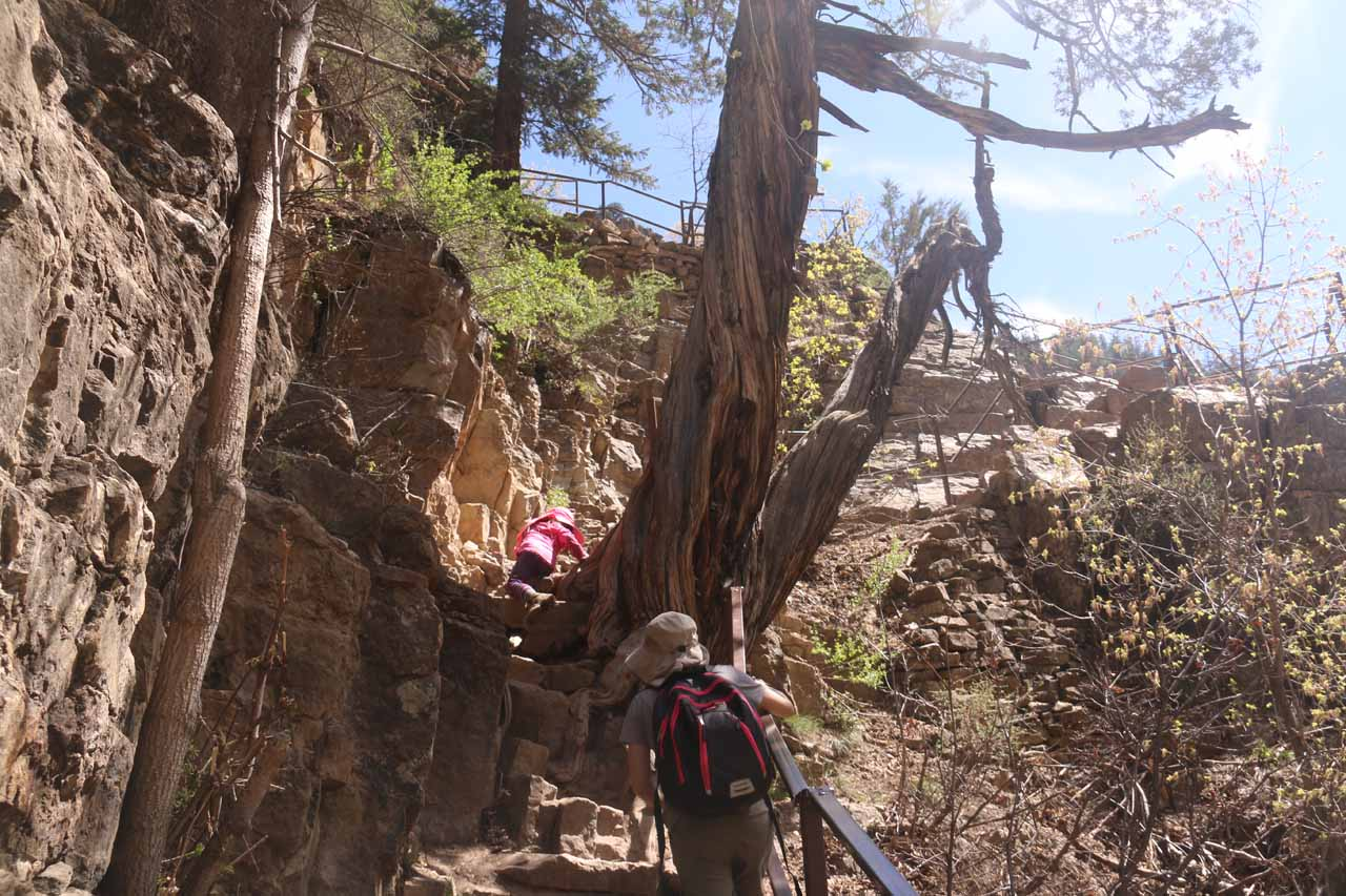 Tahia and Julie going up the steep and narrow cliff-hugging trail on the final ascent up to Hanging Lake