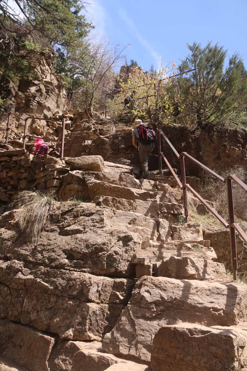 Looking up at Julie and Tahia still negotiating the steep steps on the final ascent up to Hanging Lake